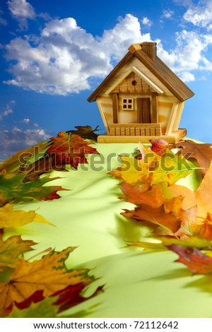 Wooden house on a hill covered with fallen autumn leaves under blue cloudy sky - stock photo