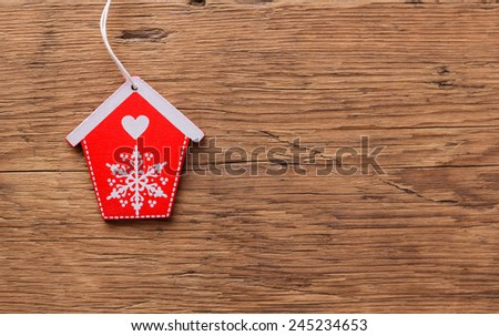 wooden house on brown wood background  #245234653
