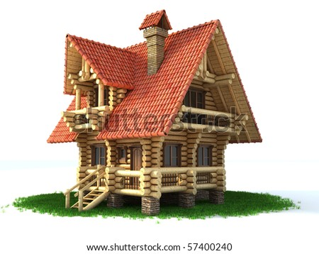 wooden house on grass 3d illustration isolated on white
