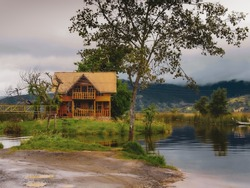 Wooden house on the lake.