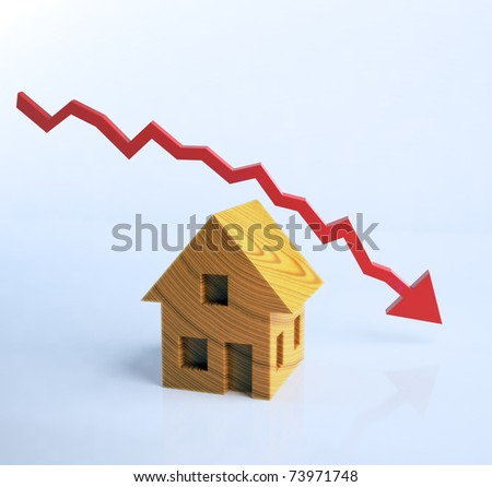 Wooden house symbol with a graph