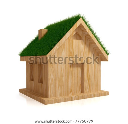 Wooden house with a green grass on a roof. Eco house concept. Isolated on white background. 3d rendered.