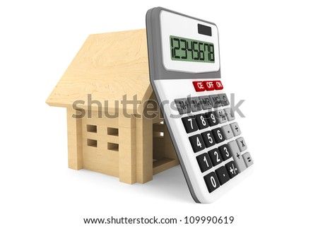 Wooden House with Calculator on a white background