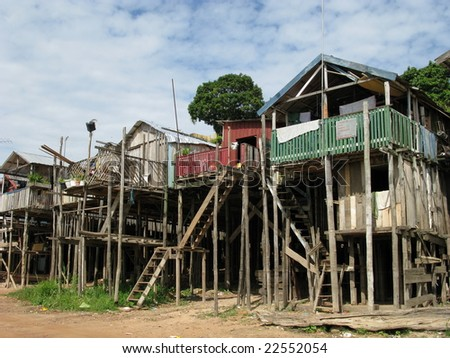 Wooden houses built on high stilts called in portuguese palafitas. Manaus Amazonas, Brazil
