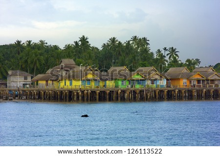wooden houses in Penyengat island, indonesia