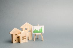 Wooden houses with a stand of graphics and information. Growing demand for housing and real estate. growth of the city and its population. Investments. rising prices for housing. Selective focus