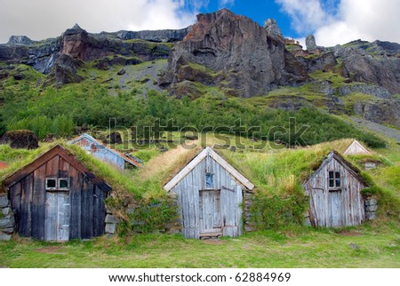 wooden houses with roofs covered with grass