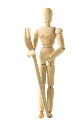Wooden human figure, mannequin, with wooden fork isolated on white background