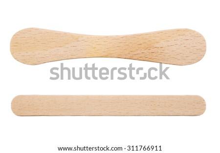Wooden ice-cream sticks isolated on white background