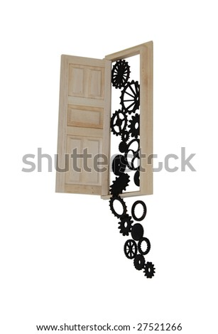Wooden interior door with five panels used to gain entrance to another room which is overflowing with gears-Path included