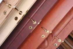 Wooden interior door with handle