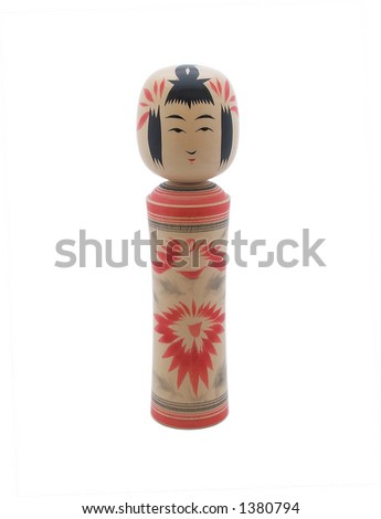 Wooden Japanese doll isolated