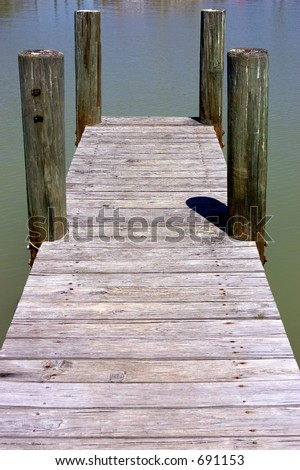 Wooden jetty, flamingo visitors center, Everglades National Park, Florida, USA