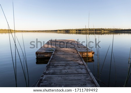 Photo of  wooden jetty in a calm lake that looks like a mirror, in the background trees are reflected, next to the jetty reeds grow