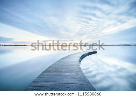 wooden jetty in lake #1115580860