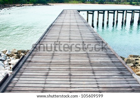 Wooden jetty on the sea,Samed island national park  in Rayong province,East of Thailand.