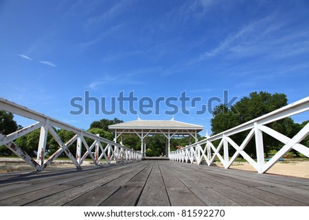 wooden jetty walkway with pavillion in Srichang Island Thailand with blue sky #81592270