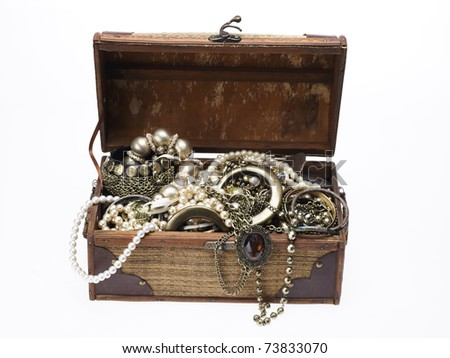 wooden jewellery box  packed with accessories