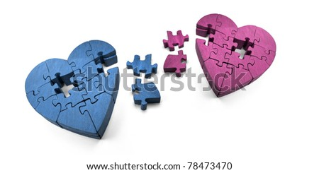 Wooden Jigsaw Hearts In Pieces, The Scattered Puzzle Of A Broken Romance