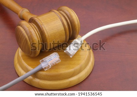 Wooden judge gavel and two disconnected computer cables close up. Law and internet concept.  Photo stock ©