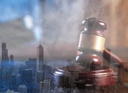 Wooden judge gavel on a city background