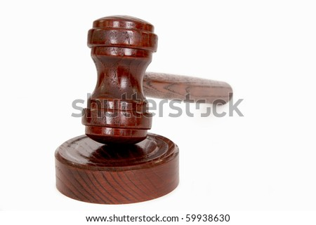 Wooden judge's gavel - isolated on white