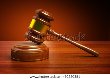 Wooden Judges Gavel - stock photo