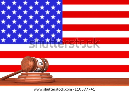 Wooden Justice Gavel with Flag Of America