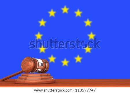 Wooden Justice Gavel with Flag Of Europe
