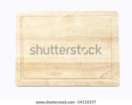 Wooden kitchen board isolated on white, view on top of the board