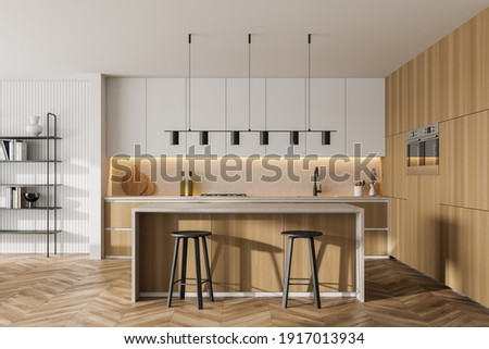 Wooden kitchen room with dining table and bar chairs, parquet floor. Kitchen open space room with bookshelf, wooden light furniture, 3D rendering no people