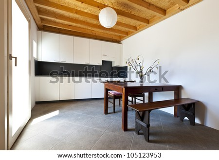 wooden kitchen table, rural home interior