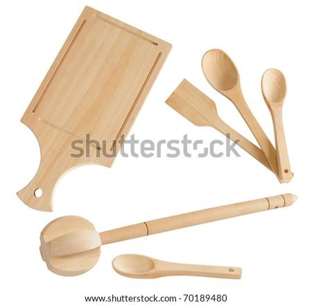 Wooden kitchen utensils. - stock photo