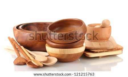Wooden kitchen utensils isolated on white