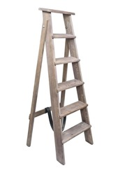 Wooden ladder isolated on white background.