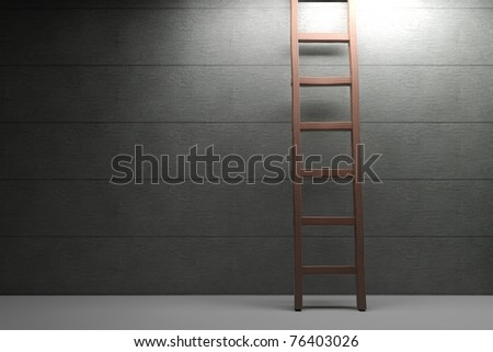 Wooden ladder lit by spotlight on concrete background