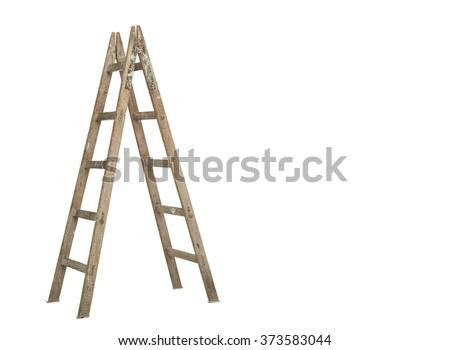 wooden ladder on white background  #373583044