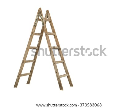 wooden ladder on white background  #373583068