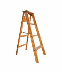 wooden ladder on white background. Step Ladder. - Image