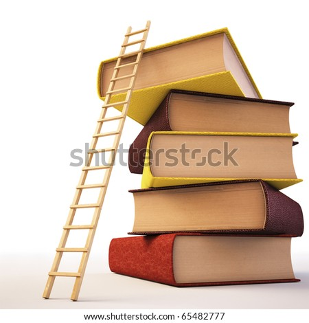 Wooden ladder standing near books pile. isolated on white including clipping path.