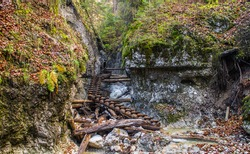 Wooden ladders in gorge of Slovensky raj National park in Slovakia