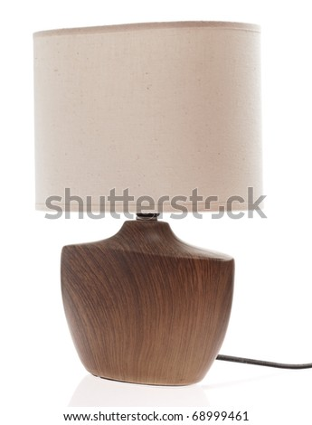 wooden lamp isolated on a white background - stock photo