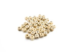 wooden letter cubes on white background