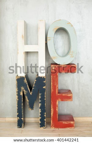 wooden letters of the word in the interior of the house