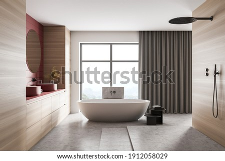Wooden light bathroom with white bathtub on marble floor, shower and two red sinks with mirrors. Minimalist design of marble bathroom 3D rendering, no people