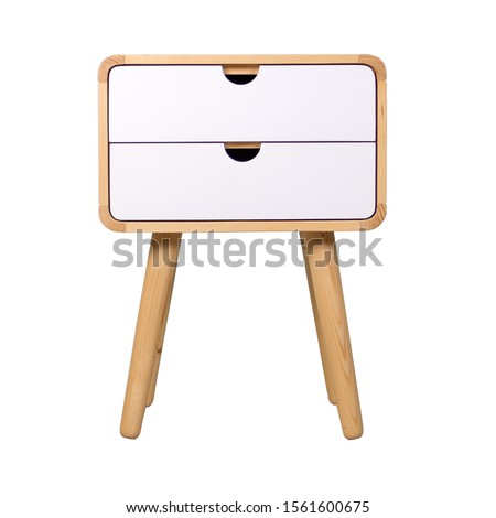 Wooden living room table corner with cabinet isolated on white background. Interior design Inspiration. Furniture modern inspiration. Home living. Wooden Wardrobe inspiration. Scandinavian Interior.