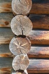 wooden log cabin. dry, sun-baked wood