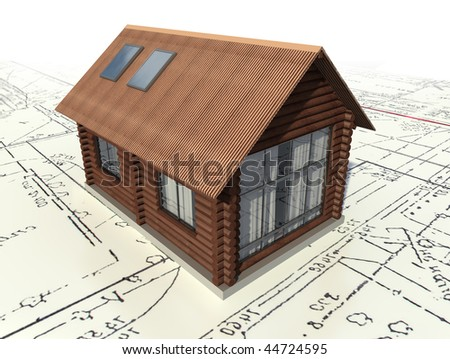 Wooden log house on the master plan. 3d model isolated on a white background.