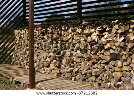Wooden logs in a pile.