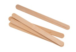 Wooden lollipop, popsicle or craft sticks, isolated on white background.